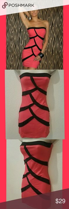 "Sexy Off The Shoulder Scalloped Party/Club Bodycon New in wholesale Package Show it off in one of these Hot Body Accenting Dresses, 12"" Zipper on back.  THIS IS FOR THE PINK with Black Scalloped/Fish Scale Shapes that are attached Material not just screened on.  Quality Fit! Choose any size. This is a One Size Fits SM-LG (2-8)  BUST Relaxed 30.5""  Stretched 36"", WAIST Relaxed 28.5  Stretched 32.5"",  HIP Relaxed 32.5""  Stretched 38""  LENGTH Relaxed 24""   #64 Dresses Mini"
