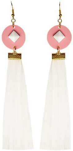 MORE is LOVE | Suzywan Deluxe - White Tassel - Earrings