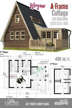 A-Frame Small House Floor Plans Megan. Take a look at other inexpensive and easy-to-build A-frame house plans. Read about cons and pros of A-frame cabins and small homes. Small Cabin Plans, A Frame House Plans, Small House Floor Plans, Cabin Floor Plans, A Frame Cabin, A Frame Floor Plans, Building Costs, Building A Tiny House, Pin Up