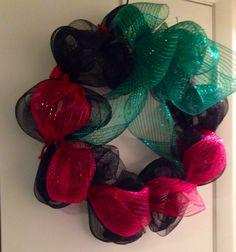 Red Black and Green mesh   Kwanzaa wreath