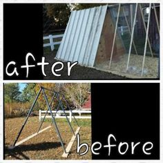 This before and after picture shows how an old swing set becomes a new home for chickens.