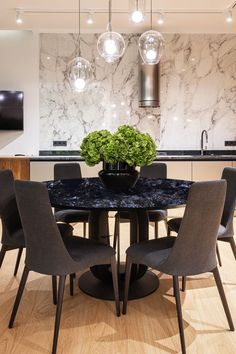 If you want to spruce up your kitchen or dining area, consider the Granalt Galactic Blue tile. It goes well with any light coloured tile, and is also resistant to stains and moisture. Visualise your space with Trialook. #countertop #tabletop #diningtable #ideas