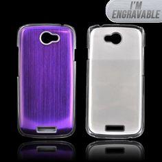 HTC One S Hard Back Clear Case w/ Aluminum - Purple