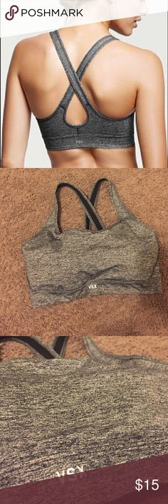 The Player By VS Crossback Sport Bra Victoria's Secret VSX Sport Sports Bra // Heather Grey! Polyester and Nylon material! Soft and great for hitting the gym! Worn a few times! Great condition! 💕 Victoria's Secret Intimates & Sleepwear Bras