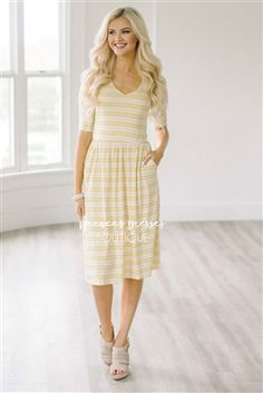 Yellow White Stripes Dress Modest Dress Bridesmaids Dress, Church Dresses, dresses for church, modest bridesmaids dresses, trendy modest dresses, modest womens clothing, affordable boutique dresses, cute modest dresses, mikarose, trendy modest boutique