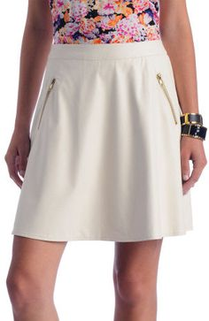 #southmoonunder.com       #Skirt                    #Ivory #Vegan #Leather #Zipper #Skirt               Ark & Co. Ivory Vegan Leather Zipper Skirt                                    http://www.seapai.com/product.aspx?PID=1242561