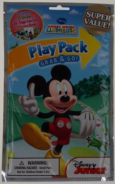Lot 8 Mickey Mouse Play Pack Grab & Go Coloring Book Disney Crayons Stickers NEW #Disney