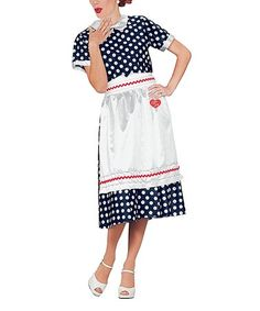 $23.99 marked down from $47.99! I Love Lucy Classic Polka Dot Dress Costume Set - Women #halloween #costume #ilovelucy #lucilleball #lucy #zulily! #zulilyfinds