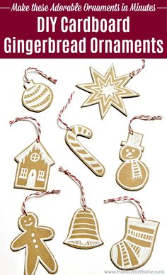 Learn how to make DIY Cardboard Gingerbread Ornaments … easy tutorial + free printable pattern! These painted Gingerbread ornaments are fun and affordable to make for kids or adults! Make these homemade Christmas ornaments with simple supplies (paper / cardboard and chalk markers). Use these DIY Christmas ornaments on your tree, for gift tags, or give them as a DIY gift! | Hello Little Home #ornaments #christmasornaments #diyornaments #gingerbread #gingerbreadornaments #christmascrafts