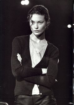 Fun fact: Shalom Harlow's face is actually carved marble. Photo by Peter Lindbergh.