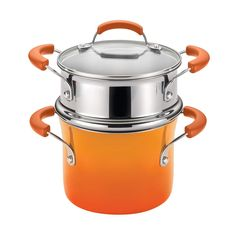 Shop for Rachael Ray Hard Enamel Nonstick Orange Gradient Covered Steamer Set. Get free delivery On EVERYTHING* Overstock - Your Online Kitchen & Dining Outlet Store! Get in rewards with Club O! Burnt Food, Pot Lids, Cookware Set, Enamel Cookware, Bakeware, Cool Things To Buy, Porcelain, Ebay, Style