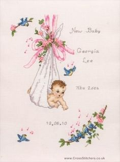 Vintage Baby Sampler - cross stitch kit by Anchor - A traditional birth sampler with a baby in a nappy with flowers, ribbons and lots of singing blue birds. Baby Cross Stitch Patterns, Cross Stitch For Kids, Cross Stitch Baby, Cross Stitch Samplers, Cross Stitch Kits, Cross Stitch Charts, Cross Stitch Designs, Cross Stitching, Cross Stitch Embroidery