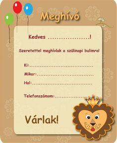 Szülinapi meghívók letöltése   budapest.imami.hu Budapest, Diy, Bricolage, Do It Yourself, Homemade, Diys, Crafting