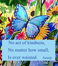 Blue Butterfly Garden Kindness Quote