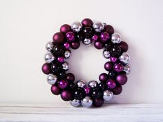 Vintage Christmas wreath purple baubles Christmas by ArktosArt