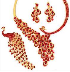 Мода Новый стиль великолепный классический красный кристалл павлин свадебные комплекты ювелирных изделий 3 шт. золотой ювелирные комплект аксессуары Bridal Jewelry Sets, Wedding Jewelry, Japanese Sushi, Peacock, Crystals, Classic, Red, Style, Fashion