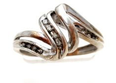Sterling Silver Diamond Ring Size 6.5 Vintage Swirled Design Wedding Jewelry   Jewelry & Watches, Fine Jewelry, Fine Rings   eBay!