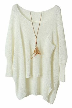 ROMWE | Asymmetric Batwing Sleeves Pocketed White Jumper, The Latest Street Fashion