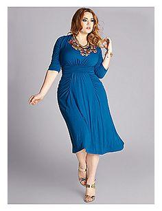 Thelma Draped Dress in Deep Azure by IGIGI by Yuliya Raquel $118