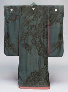 Tone-on-tone tree motif kimono (source unknown)