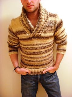 Josh Bennett Design perfect for a shorter man or thin and tall. Changing the yarn would make it a great addition to even a man with a gut. Horizontal stripes to vertical? Loving it!