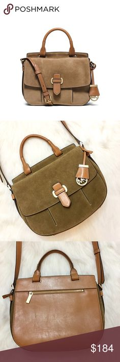 HP 3/18 Michael Kors Saddle Bag Brand new suede and leather Romy Saddle bag. Gold hardware, slim profile and adjustable strap. Color is Desert  Michael Kors Bags Crossbody Bags