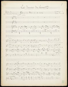 Franck, César, 1822-1890. Duets, voices, piano. Selections . Three duos for soprano, alto and piano : autograph manuscript, 1889 Sept.