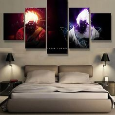 Naruto VS Sasuke Anime Cartoon Framed 5 Piece Canvas Wall Art Painting Wallpaper Poster Picture Print Photo Decor - Large / Frame