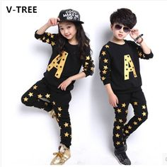 13.90$  Watch here - http://aliapg.shopchina.info/go.php?t=32397301083 - V-TREE NEW 2016 autumn boys clothing set fashion brands teenage girls boys sport set cotton kids clothes set outerwear  #shopstyle