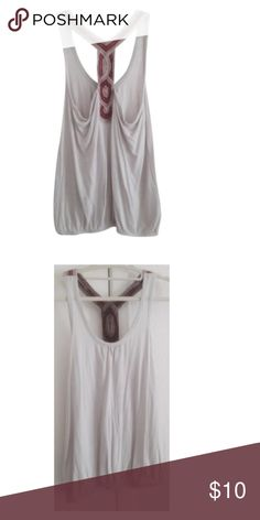Grey Racerback Tank Top Blouse Size: Small.  Material: 100% rayon  Condition: Gently used Note: Worn two times Love Notes Tops Tank Tops