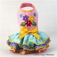 Why not celebrate spring with your special furry friend in one of these polka dot ruffle dresses?  Hand painted appliques with beading.  Custom made.  get yours today by clicking this link:  http://www.littledogfashion.com/Light-Pink-Hand-Painted-Flower-Dresses-for-Dogs-p/ltpink-flowr-dres.htm