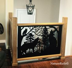 Give your home a new look with custom railing panels.  These can be easily inserted into current framework. Custom #stair #railing with wolves and owl in the forest. CS-486  | We specialize in functional metal art.  What would you like in a railing? | Sign up for our monthly newsletter on our website for the latest customer installation photos at www.NatureRails.com or call 888-743-2325 we would be glad to answer your questions.
