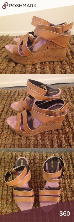 Missoni Platform Wedge Sandals It's in great pre-loved condition Size is 39 Europe / 8 US Genuine Leather Made in Italy Missoni Shoes Platforms