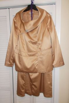 Jessica London Plus Size Suit, 26W in Champagne Color, have worn this suit only twice, excellent condition. Asymmetric collar with a rhinestone brooch, hidden double closure, hidden zipper in skirt. | eBay!