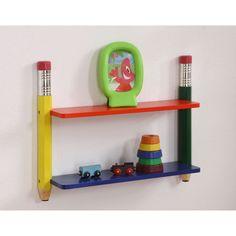 Pencil Design 2 Tier Wall Shelf