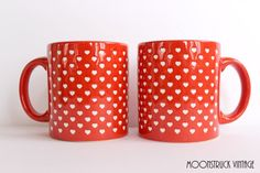 2 Waechtersbach Valentine Heart Coffee Mug by MoonstruckVintageAZ