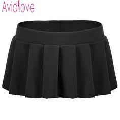 78475c8053 Avidlove Brand Women Sexy Mini Skirts Casual Solid Pleated Micro Skirt Sexy  Summer Short Skirts Black