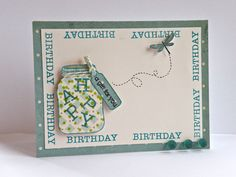 This super fun Birthday HAPPY card by Cristal Hobbs is sure to be a hit for the summer or anytime. The HAPPY stamps fit perfectly into the Jar and the graphic type make for a fun border.