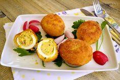 Ouă pane umplute cu ton și cremă de brânză - Rețete Fel de Fel Tzatziki, Eggs, Breakfast, Ethnic Recipes, Morning Coffee, Egg, Egg As Food