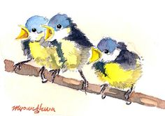 ACEO Limited Edition 6/25 Three Chicks in by annalee377 on Etsy, $4.00