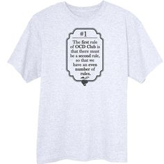 The First Rule of OCD Club Funny Novelty T-Shirt Z13648 - Rogue Attire
