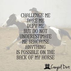 Me and my horse are known for surprising people. People think we can't do it, they underestimate us but then we do it and prove everyone wrong. We don't mean to. We just want a chance. My horse is a 2 year old, I've been taking riding lessons for 8 years and he's my first horse. I never really worked with a younger horse before. Those 8 years has prepared me for right now.