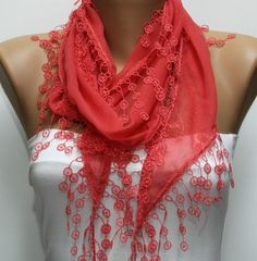 ON SALE - Amaranth Scarf - Cotton Scarf - Cowl Scarf - Shawl with Lace Edge - Bridesmaid Gift