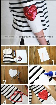sequin heart DIY - I love elbow patches and I love sequins! Old Sweater, Heart Sweater, Sweaters, Elbow Patch Sweater, Elbow Patches, Diy Patches, Diy Fashion, Ideias Fashion, Alter Pullover