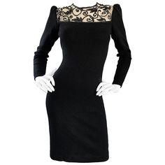 Vintage St John by Marie Gray Black Santana Knit Sequin Cut-Out Back 1990s Dress | From a collection of rare vintage evening dresses and gowns at https://www.1stdibs.com/fashion/clothing/evening-dresses/