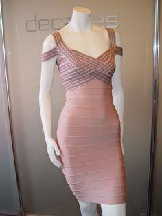 Vintage Nude Hervé Léger cut-out sleeve bandage dress