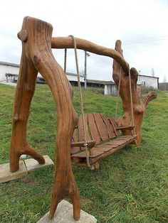 Used Woodworking Machinery Log Furniture, Outdoor Furniture Plans, Furniture Projects, Garden Furniture, Luxury Furniture, Wooden Swing Chair, Wooden Garden Chairs, Backyard Creations, Beginner Woodworking Projects
