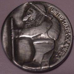 "BILL ""BILLZACH"" JAMESON HOBO NICKEL - BUFFALO NICKEL REVERSE CARVING Hobo Nickel, Buffalo, Coins, Carving, Rooms, Wood Carvings, Sculptures, Printmaking, Water Buffalo"