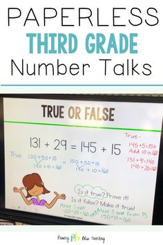 These NO PREP highly engaging number talks are perfect for your third grade classroom! You will receive hundreds of math talk slides with common core aligned activities that increase in difficulty as the year progresses. We have included a large variety of activities to keep your students engaged throughout the year, as well as detailed lesson plans for those who are new to number talks. Grab your set today! #thirdgradenumbertalks #thirdgrademath First Grade Lessons, Teaching First Grade, Third Grade Math, Math Lessons, Math Fact Practice, Math Talk, Number Talks, Math Lesson Plans, Math Strategies