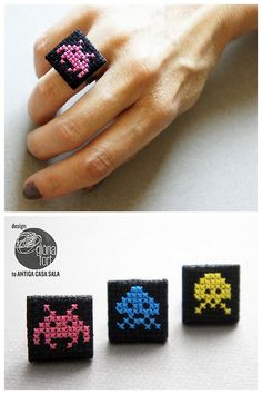 DIY Cross Stitch Ring Tutorial by Gloria Fort. You can cross stitch Space Invaders, flowers, words etc… I used Chrome to translate. For more cross stitch DIYs and inspiration go here. For an amazing...